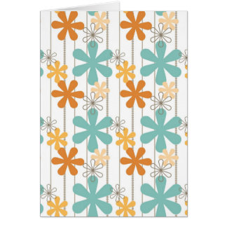 Fun Retro Floral Pattern Orange Blue Wall Flowers Greeting Cards