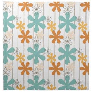 Fun Retro Floral Pattern Orange Blue Wall Flowers Cloth Napkins