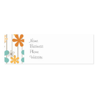 Fun Retro Floral Pattern Orange Blue Wall Flowers Pack Of Skinny Business Cards