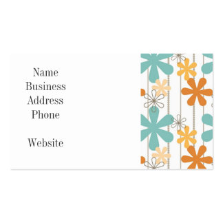 Fun Retro Floral Pattern Orange Blue Wall Flowers Pack Of Standard Business Cards