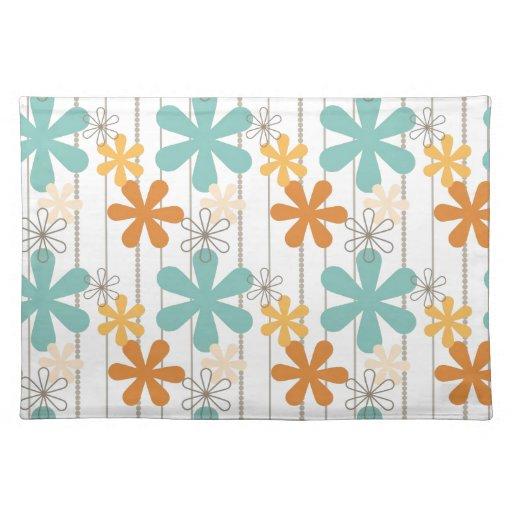 Fun Retro Floral Pattern Orange Blue Wall Flowers Place Mat