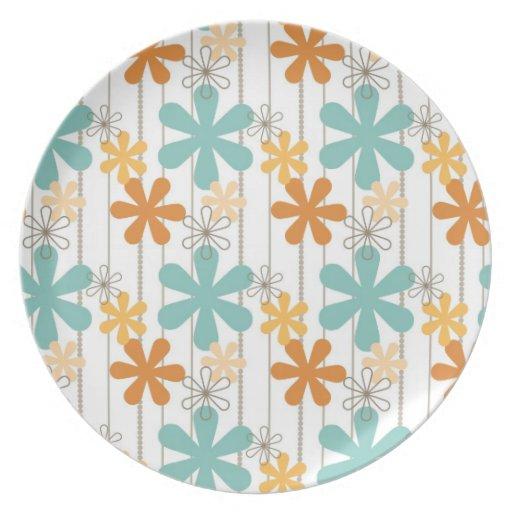 Fun Retro Floral Pattern Orange Blue Wall Flowers Plate