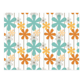 Fun Retro Floral Pattern Orange Blue Wall Flowers Postcard