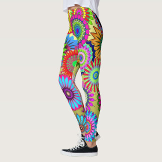 Fun retro floral print on leggings