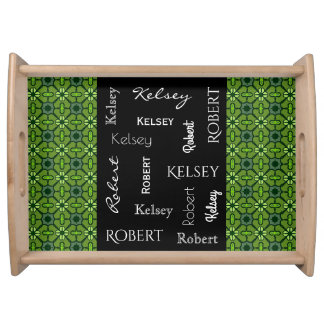 Fun Retro Green w/Names Serving Tray