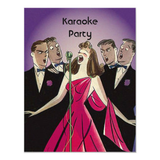 Fun Retro Karaoke Singing Party Social Invitations