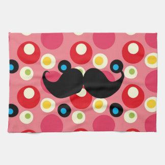 Fun Retro Mustache on 70s Colorful Background Towel