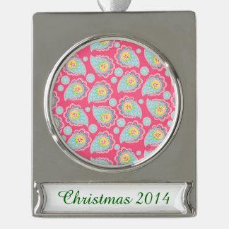 Fun Retro Paisley Silver Plated Banner Ornament