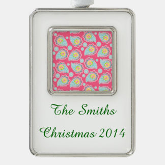 Fun Retro Paisley Silver Plated Framed Ornament