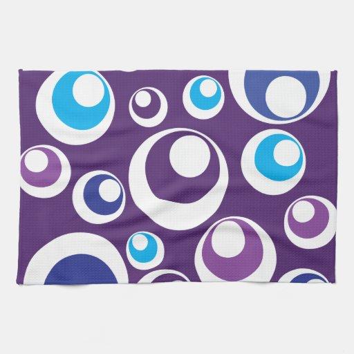 Fun Retro Purple Teal Circles Dots Pattern Towel