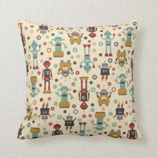 Fun Retro Robots Illustrated Pattern (Cream) Cushion