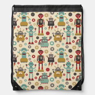 Fun Retro Robots Illustrated Pattern (Cream) Drawstring Bag