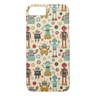 Fun Retro Robots Illustrated Pattern (Cream) iPhone 8/7 Case