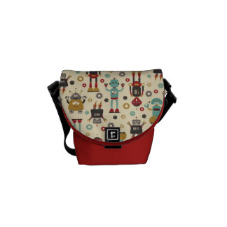 Fun Retro Robots Illustrated Pattern (Cream) Messenger Bags
