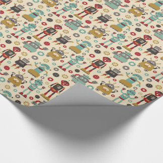 Fun Retro Robots Illustrated Pattern (Cream) Wrapping Paper