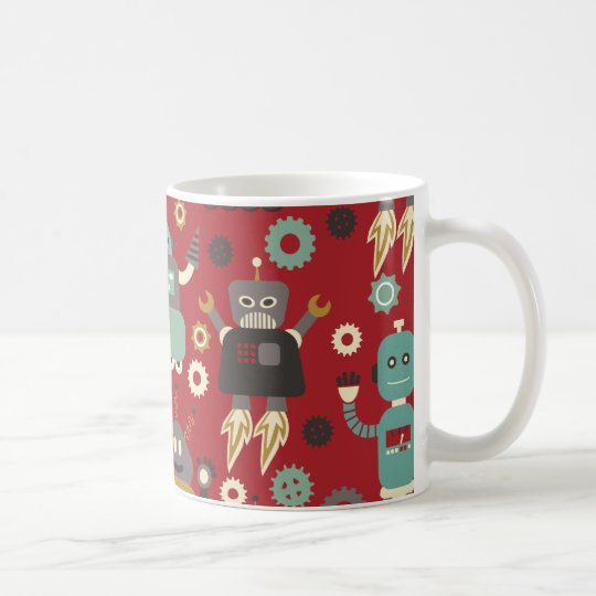 Fun Retro Robots Illustrated Pattern (Red) Coffee Mug