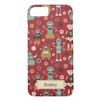 Fun Retro Robots Illustrated Pattern (Red) iPhone 8/7 Case