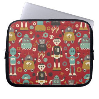 Fun Retro Robots Illustrated Pattern (Red) Laptop Sleeve