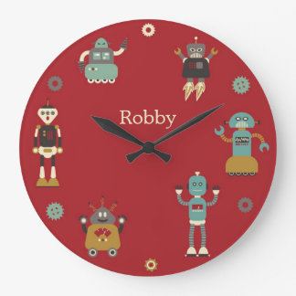 Fun Retro Robots Illustrated Pattern (Red) Large Clock