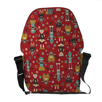 Fun Retro Robots Illustrated Pattern (Red) Messenger Bags