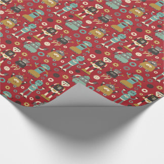 Fun Retro Robots Illustrated Pattern (Red) Wrapping Paper