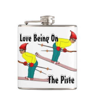 Fun Retro Skiers Love Being On The Piste Hip Flask