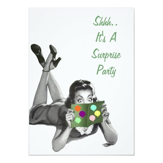 Fun Retro Surprise Party Announcements Invitations