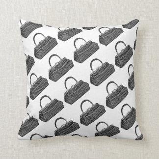 Fun Retro Vintage Fashion Black Handbag Pattern Cushion