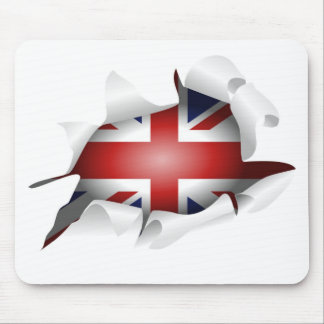Fun Ripped Hole With Union jack Flag Mouse Mat