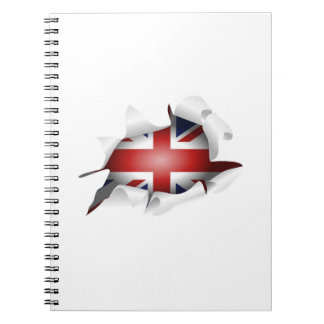Fun Ripped Hole With Union jack Flag Spiral Notebook