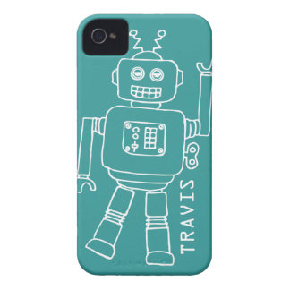 Fun robot named teal & white boys iphone 4 case