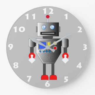 FUN ROBOT TOY WITH WHITE NUMERALS LARGE CLOCK
