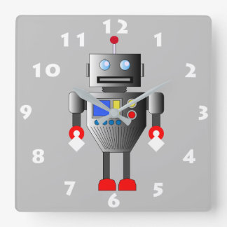 FUN ROBOT TOY WITH WHITE NUMERALS SQUARE WALL CLOCK