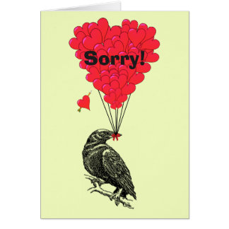 Fun romantic crow and heart sorry card