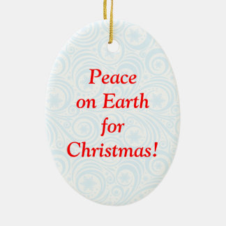 "Fun Santa Claus & Rudolph ""Peace on Earth"" cartoon Christmas Ornament"