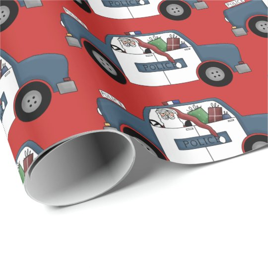 Fun Santa driving police car party wrap Wrapping Paper