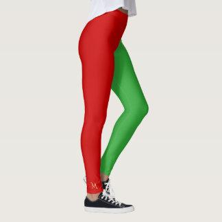 Fun Santas Little Helper Elf Christmas Red Green Leggings