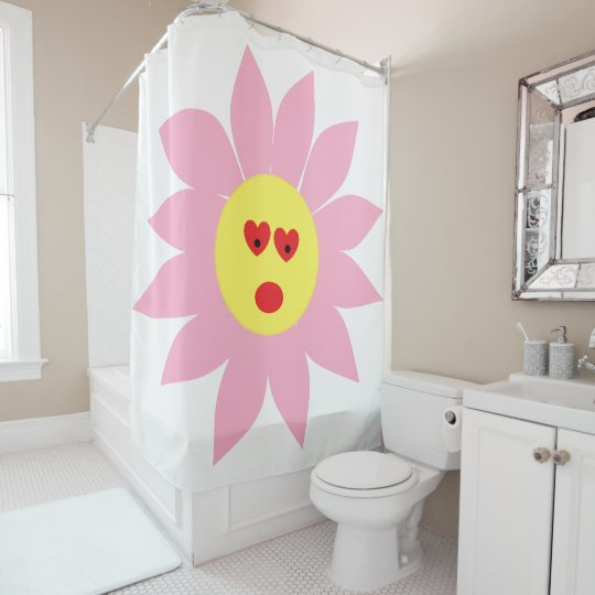 Fun Scared Pink Flower with Red Heart Eyes Shower Curtain