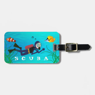 FUN SCUBA DIVING,  DIVER AND TROPICAL FISH LUGGAGE TAG