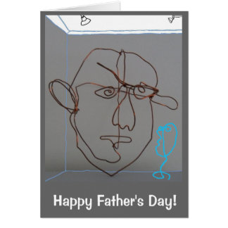 Fun sculpted image of son with father's day wishes greeting card