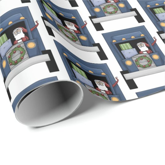 Fun Semi truck driving Santa party tiled wrap Wrapping Paper