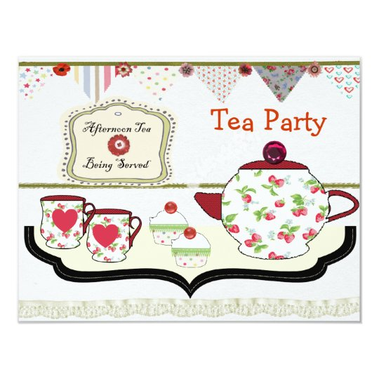 Fun Shabby Chic Tea Party Theme Card