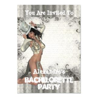Fun showgirl personalized bachelorette party 13 cm x 18 cm invitation card