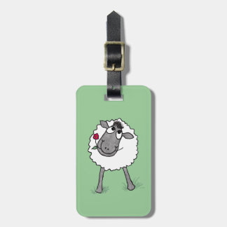Fun Silly Sheep with Flower, Luggage Tag