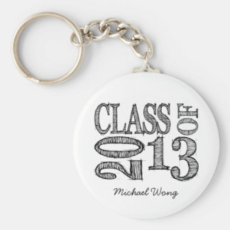 Fun & Simple Pen Sketch Class of 2013 Basic Round Button Key Ring