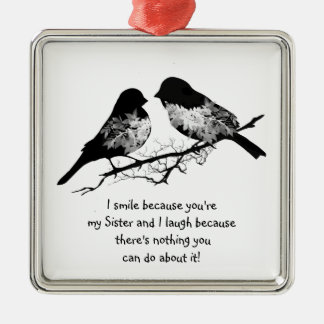 Fun Sister Quote with Cute Bird Humor Christmas Ornament