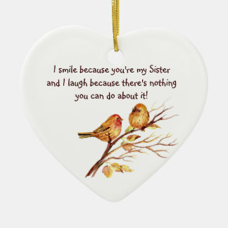 Fun Sister Saying with Cute Birds Christmas Ornament