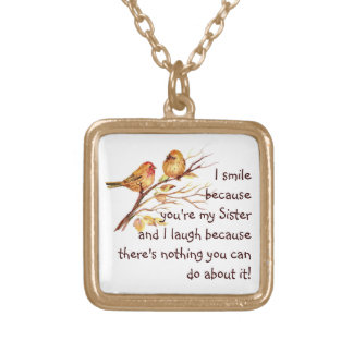 Fun Sister Saying with Cute Birds Gold Plated Necklace