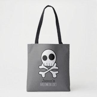 Fun Skull and Bones Kids Halloween Tote Bag