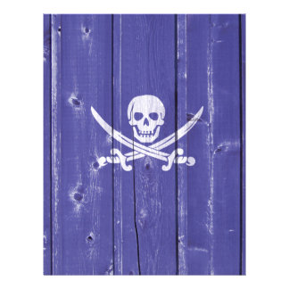 Fun skull cross swords on blue wood panel printed personalized flyer
